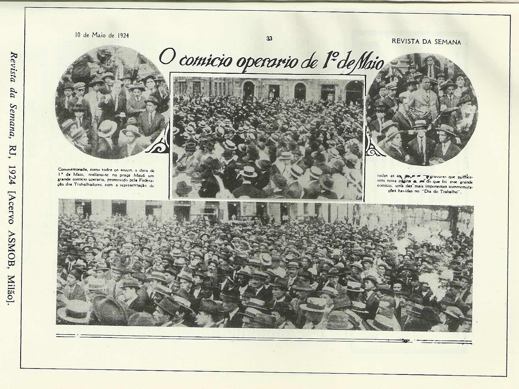 Jornal de Sindicato do Rio de Janeiro mostrando como foi o Comício de 1 de Maio de 1924